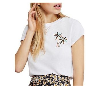Free People t-shirt embroidered palm trees white